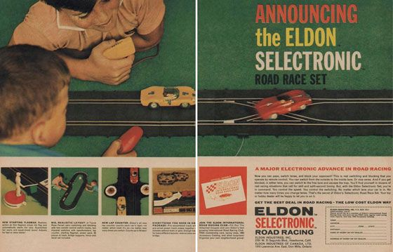 Announcing the Eldon Selectronic Road Race Set. A major electronic advance in road racing.  Now you can pass, switch lanes, and block your opponent! This is real switching and blocking that you operate by remote control. You can switch from the outside to the inside lane. Or vice versa. And if you get blocked, in either lane, you can switch to the free land and escape the traps. You'll find yourself in dozens of real racing situations that call for skill and split-second timing. But, with the Eldon Selectronic Set, you're in command. You control the speed. You control the switching. No matter which lane your car is in. No matter how many times you change lanes. That's the secret of Eldon's Selectronic Road Race Set. Your toy or hobby dealer will be happy to let you in on it.  Get the best deal in road racing—the low cost Eldon way.  Eldon Selectronic Road Racing. Eldon Industries, Inc. 2701 W. El Segundo Blvd., Hawthorne Calif Eldon Industries of Canada, LTD. 1315 Lawrence Ave East, Don Mills, Ontario  New starting flagman. Realistic action as this flagman drops his flag and automatically starts the race. Guaranteed fair starts and equal-timed races! Adjusts to fast or slow starts!  Big, realistic layout. 2 Testa Rosa Ferrari cars—switching and blocking with two remote control switch tracks, two rheostat switches with speedometers, lap counter, starting flagman, power pack, 28 pieces of track, bridge supports, fence and decal set included.  New lap counter. Eldon's all new lap counter counts each car's laps—no matter which track it's on—no matter how many times you switch. Counts up to 50 laps!  Everything you need in one package. Pre-assembled track with pre-wired power track snaps together. 10 minutes without tools or glue. Enough track for many different layouts—even a cross-over bridge.  Join the Eldon International Road Racing Club. Fill out the attached coupon and join Eldon's fast growing International Road Racing Club. Free membership card, racing news, 1963 accessory catalog, and other surprises! Organize your own neighborhood group!