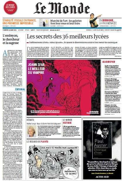 Le Monde du Vendredi 29 Mars 2013