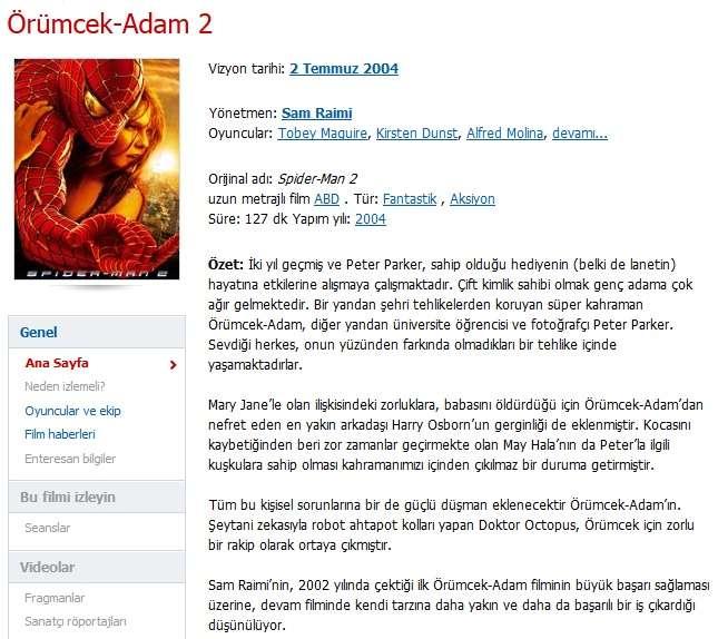 Örümcek Adam 2 - 2004 Türkçe Dublaj 480p BRRip Tek Link indir